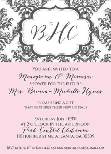 Bridal Shower Invitations: Monogram